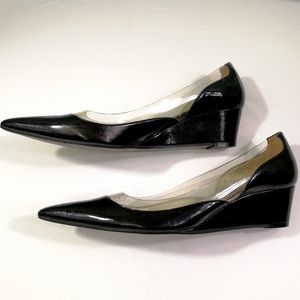 Nine West PVC & Patent Pointed Wedges Size 8